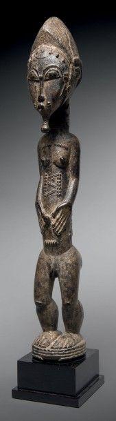 Statue Baoulé, Côte d'Ivoire Bois dur à patine...