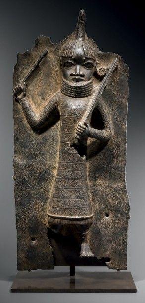 Superbe plaque Edo, Royaume du Bénin, Nigeria...