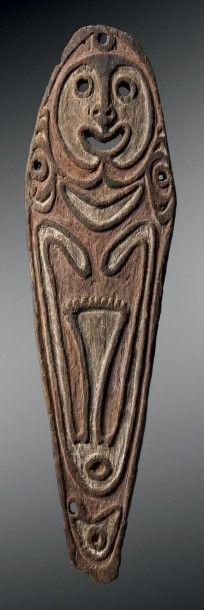 Planche votive titi ebiha Rivière Wapo, Papouasie...