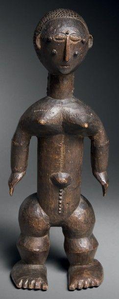 Statuette nkasopi Attie, Côte d'Ivoire Bois...