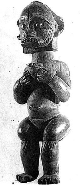 Statue masculine du byeri à visage scarifié, Afrique équatoriale, Nord Gabon, Région...