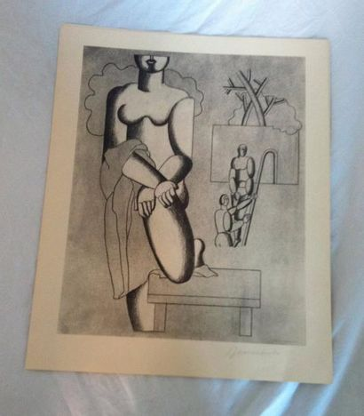 BAUMEISTER Willy SPORT UND MACHINE. QUATRE PLANCHES LITHOGRAPHIQUES SIGNÉES. Galerie...