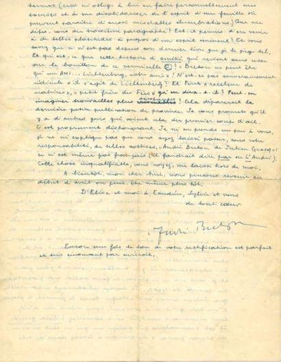 BRETON André 3 LETTRES AUTOGRAPHES SIGNÉES À CLAUDE TARNAUD (enveloppes conservées)...