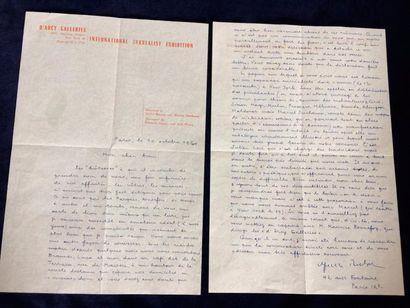 BRETON André LETTRE AUTOGRAPHE SIGNÉE À CLAUDE TARNAUD. Paris, le 10 octobre 1960....