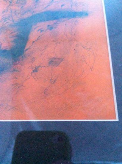 BRYEN Camille DESSIN À L'ENCRE ORIGINAL. 23,5 x 13 cm, sous encadrement. Dessin à...