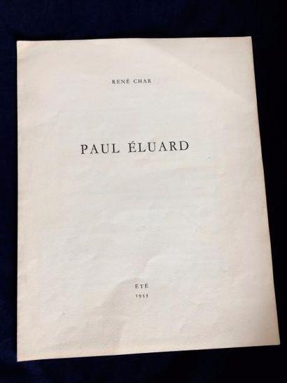 CHAR René. PAUL ÉLUARD. S.l. été 1933. Deux feuillets in-4. Édition originale limitée...