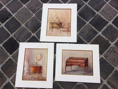 Lot de 6 dessins d'intérieur aquarellés certains...