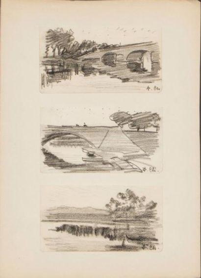 Lot de 9 oeuvres de Pierre Chapuis ( 1863-1942)...