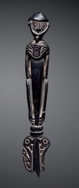 Haut de spatule à chaux Massim, Papouasie...