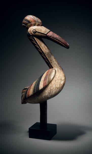 Masque-oiseau abemp Baga, Guinée Bois dur à patine brune brillante, pigments polychromes...