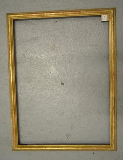 CADRE en bois mouluré vert et or. Italie, XVIIIe siècle (petits éclats). 48,7 x...