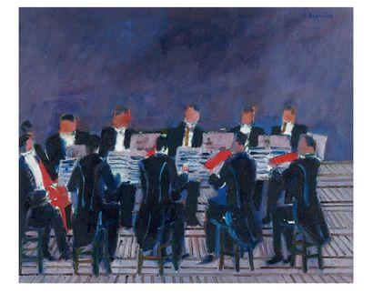 L'Orchestre Huile sur toile signée en bas...