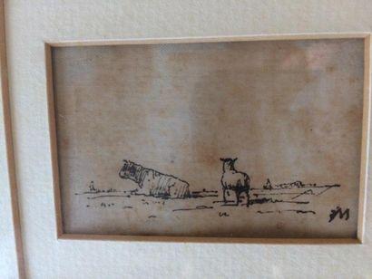 Encre sur toile ( ?) Dans le goût de Jean François MILLET  Vache et mouton  Porte...