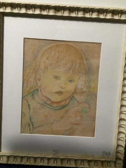 Marie Vorobieff MAREVNA (1892-1984)  Portrait d'enfant  Aquarelle sur papier  Signée...