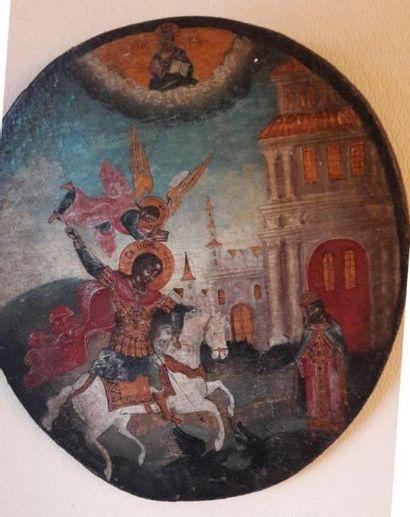 Dans le goût du XVIème siècle Saint georges Huile sur bois
