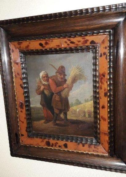 Ecole du XVIIIème siècle Personnages Paire d'huiles sur toile