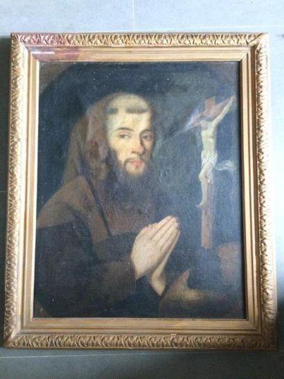 Ecole française du XVIIe Portrait de moine Huile sur toile marouflée 62 x 50 cm