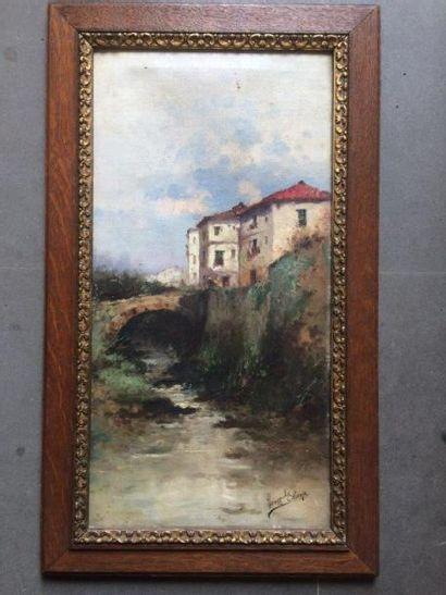 Francesco Hernandez MONJO (1862-1937)  Le pont du village  Huile sur toile  50,5...