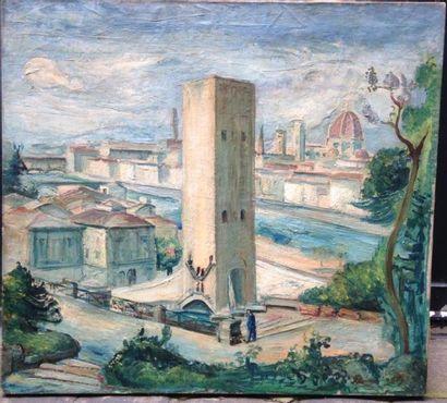 Friedrich LUDWIG (1895-1970)  Vue de Florence  Huile sur toile signée et datée en...