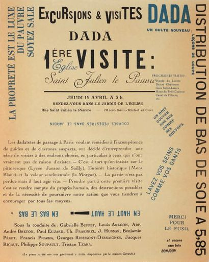 [DADAÏSME]. EXCURSIONS ET VISITES DADA. TRACT-PROGRAMME....