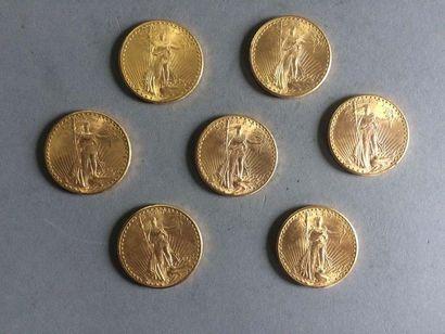 11 pièces en or 20 dollars USA 1927 et 1...