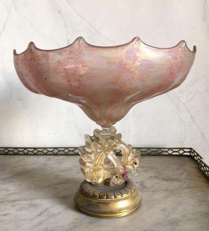 Ensemble de deux coupes en cristal de Murano...