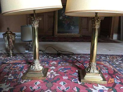 Ensemble de deux lampes Piètement en bronze...