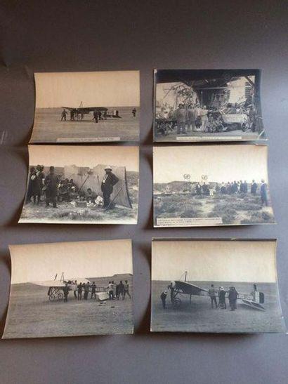 Lot de 9 photographies sur le thème de l'aviation,...