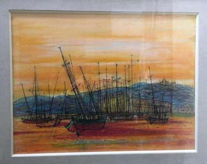 Jean CARZOU (1907-2000) Vue portuaire Aquarelle...