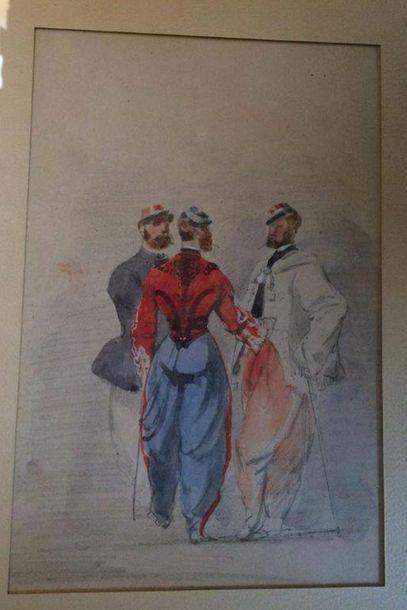Les soldats Spahis Crayon et aquarelle sur...