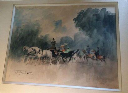Ecole du XIXe siècle La calèche Crayon et...
