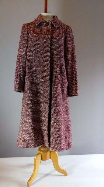 GRES PARIS - Manteau en laine chinée bordeaux...