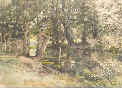 René DEGOMMIER Paysage au pêcheur Aquarelle...