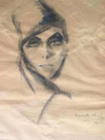 Ecole moderne Portrait de femme Fusain sur...
