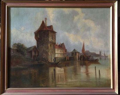 Dans le goût hollandais Paysage maritime...