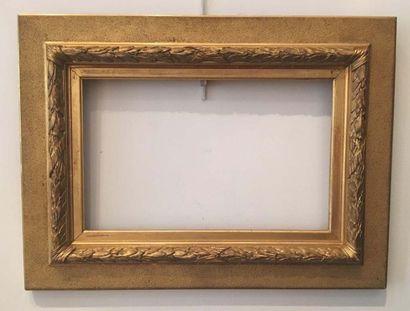 Cadre Napoléon III en bois doré La vue :...