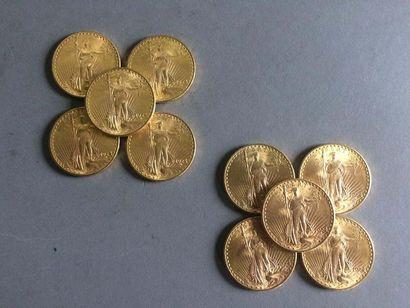 21 pièces en or 20 dollars USA 1924