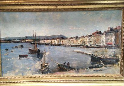 Adolphe APPIAN (1818-1898) Port du midi Huile...