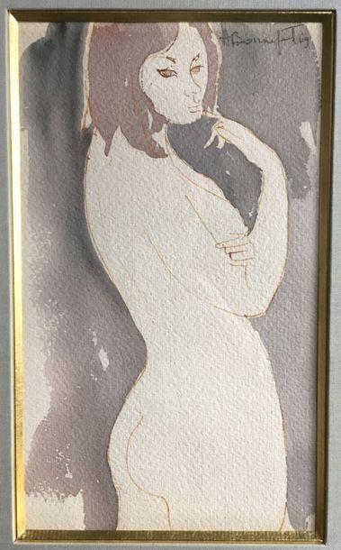 Alain BONNEFOIT (né en 1937) Nu féminin Aquarelle...