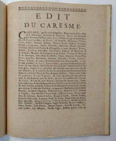 CARÊME. — Edit du Caresme. Paris, Veuve Valleyre,...