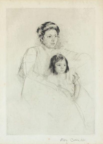 Mary CASSATT (1844-1926) Jeannette se penchant contre sa mère. Pointe sèche sur vergé....