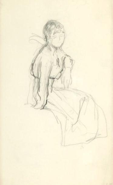 Edouard VUILLARD (1868-1940) Étude de femme assise Mine de plomb sur papier Cachet...