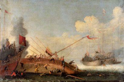 Attribué à Cornelis de WAEL (1592-1667) Combat naval contre les Turcs Paire de toiles...