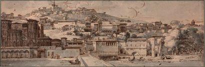 Philippe-Auguste HENNEQUIN (Lyon 1762-Leuze 1833) Vue de Lyon, rêvé à l'italienne:...