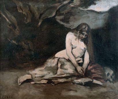 CAMILLE JEAN-BAPTISTE COROT (1796-1876) Madeleine en méditation Huile sur toile Signée...