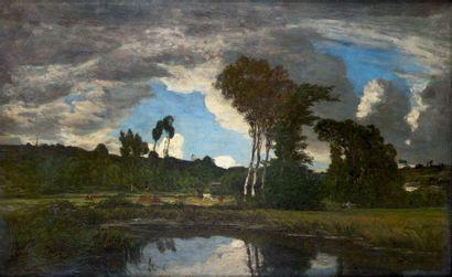 Eugène BOUDIN (1824-1898) Paysage aux environs de Quimper, peint vers 1854-1857 Huile...