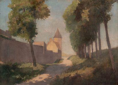 Odilon REDON (1840-1916) Rue de village Huile sur toile Signée en bas droite 24 x...