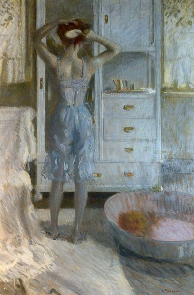 Camille INNOCENTI (1871-1961) Jeune femme de dos se coiffant Huile sur toile Signée...