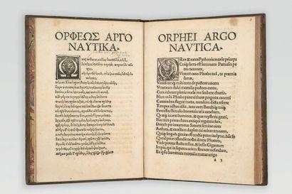 ORPHÉE. Argonauticon opus Graecum, cum interpretatione Latina incerti autoris. Bâle,...