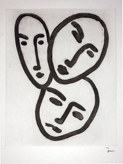 Trois têtes; À l'amitié. (Masques d'Apollinaire,...